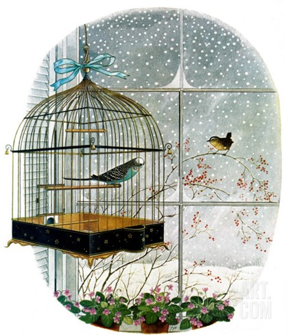 """Birdtalk,"" January 6, 1962 Stretched Canvas Print"