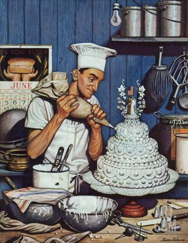 """Icing the Wedding Cake,"" June 16, 1945 Stretched Canvas Print"