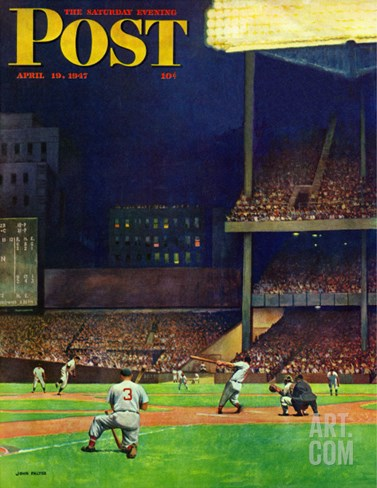 """Yankee Stadium,"" Saturday Evening Post Cover, April 19, 1947 Stretched Canvas Print"