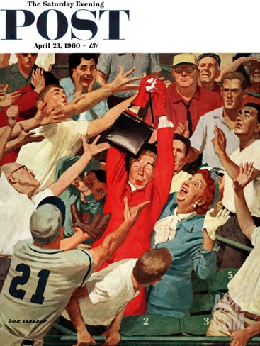"""Grandma Catches Fly-ball,"" Saturday Evening Post Cover, April 23, 1960 Stretched Canvas Print"