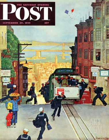 """San Francisco Cable Car,"" Saturday Evening Post Cover, September 29, 1945 Stretched Canvas Print"
