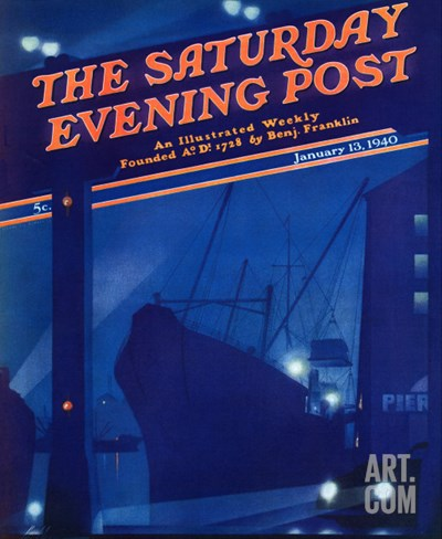 """""""Nighttime in Port,"""" Saturday Evening Post Cover, January 13, 1940 Stretched Canvas Print"""
