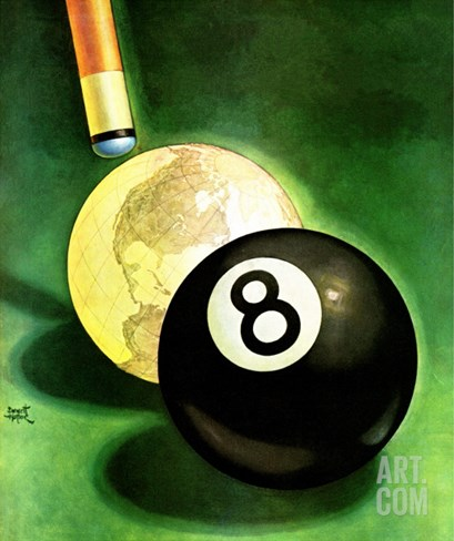 """World as Cue Ball,"" January 25, 1941 Stretched Canvas Print"