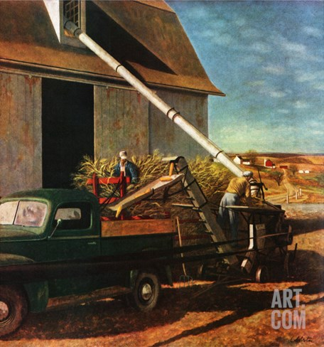"""Storing the Corn,"" November 6, 1948 Stretched Canvas Print"