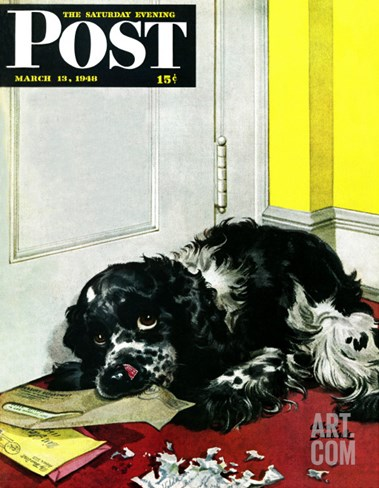 """Butch Chews the Mail,"" Saturday Evening Post Cover, March 13, 1948 Stretched Canvas Print"