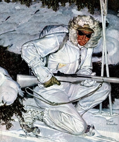 """Ski Patrol Soldier,"" March 27, 1943 Stretched Canvas Print"