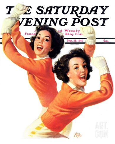 """""""Twin Cheerleaders,"""" Saturday Evening Post Cover, September 28, 1940 Stretched Canvas Print"""
