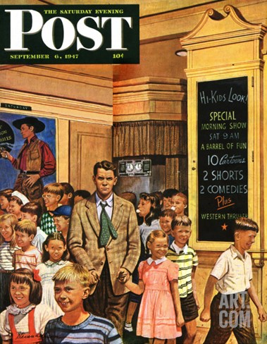 """After the Movie,"" Saturday Evening Post Cover, September 6, 1947 Stretched Canvas Print"