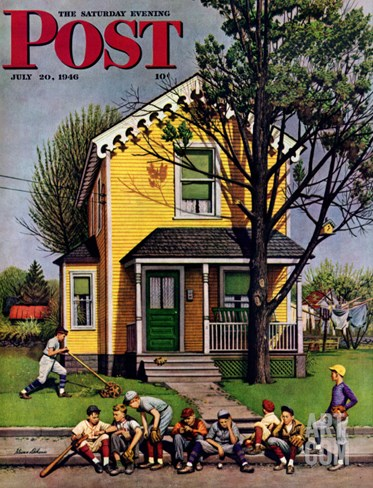 """Baseball Player Mowing the Lawn,"" Saturday Evening Post Cover, July 20, 1946 Stretched Canvas Print"