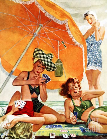 """Card Game at the Beach,"" August 28, 1943 Stretched Canvas Print"