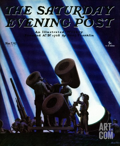 """Anti- Aircraft,"" Saturday Evening Post Cover, March 7, 1942 Stretched Canvas Print"