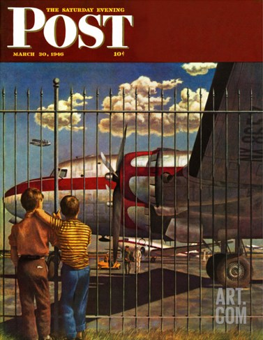 """Boys at Airport,"" Saturday Evening Post Cover, March 30, 1946 Stretched Canvas Print"