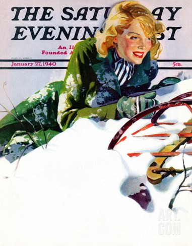 """Tumble from Sled,"" Saturday Evening Post Cover, January 27, 1940 Stretched Canvas Print"