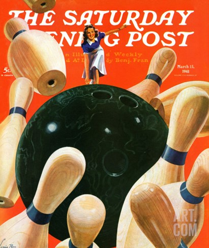 """Bowling Strike,"" Saturday Evening Post Cover, March 15, 1941 Stretched Canvas Print"