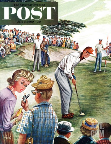 """Distracted Pro Golfer,"" Saturday Evening Post Cover, July 2, 1960 Stretched Canvas Print"