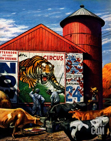 """Barnside Circus Poster,"" August 4, 1945 Stretched Canvas Print"