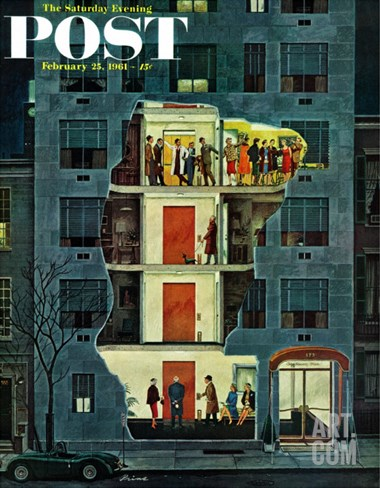 """Party Holding Up the Elevator,"" Saturday Evening Post Cover, February 25, 1961 Stretched Canvas Print"
