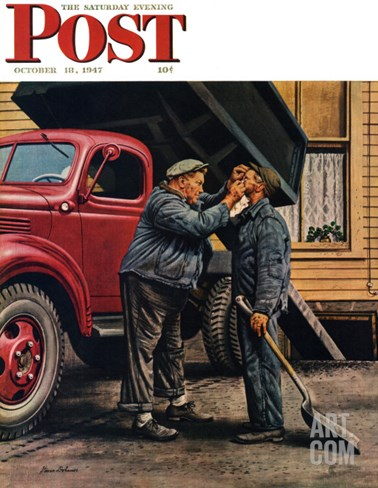 """Speck of Coal,"" Saturday Evening Post Cover, October 18, 1947 Stretched Canvas Print"