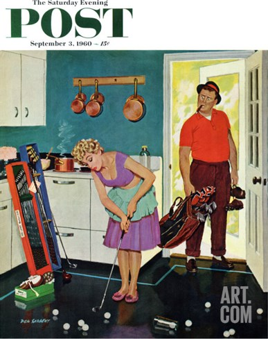 """Putting Around in the Kitchen,"" Saturday Evening Post Cover, September 3, 1960 Stretched Canvas Print"