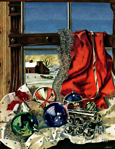 """Christmas Ornaments,"" December 18, 1943 Stretched Canvas Print"