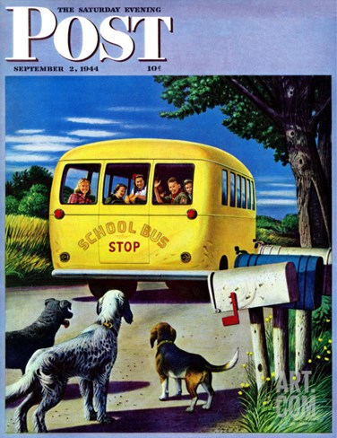 """School Bus,"" Saturday Evening Post Cover, September 2, 1944 Stretched Canvas Print"