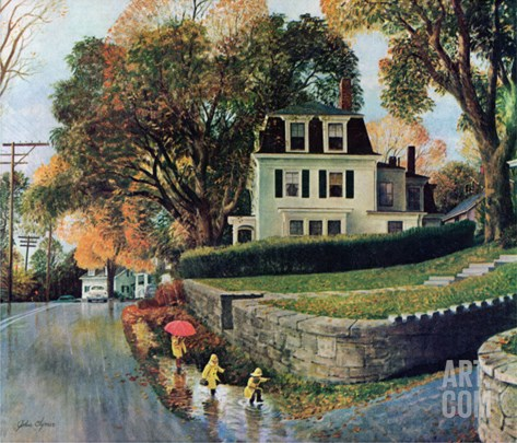 """Walking Home in the Rain,"" October 20, 1962 Stretched Canvas Print"