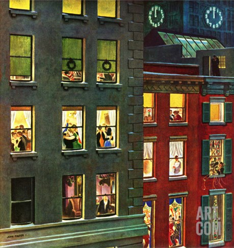 """Apartment Dwellers on New Year's Eve,"" January 3, 1948 Stretched Canvas Print"