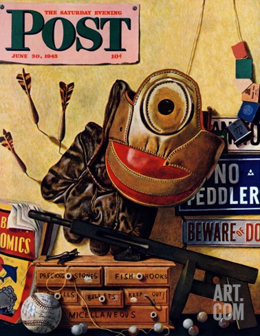 """Still Life of Boys Toys,"" Saturday Evening Post Cover, June 30, 1945 Stretched Canvas Print"