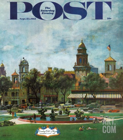 """""""Kansas City,"""" Saturday Evening Post Cover, September 23, 1961 Stretched Canvas Print"""