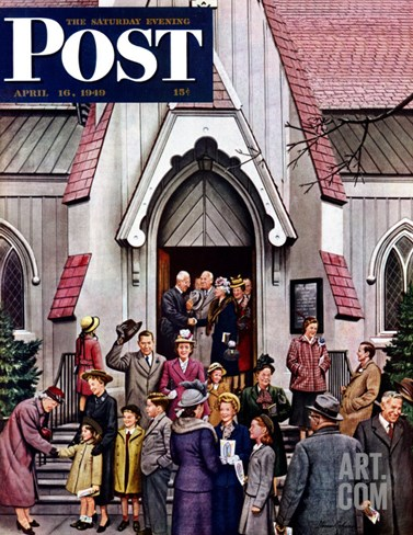 """After Church,"" Saturday Evening Post Cover, April 16, 1949 Stretched Canvas Print"