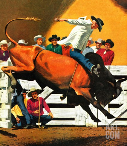 """Bull Riding,"" July 21, 1945 Stretched Canvas Print"
