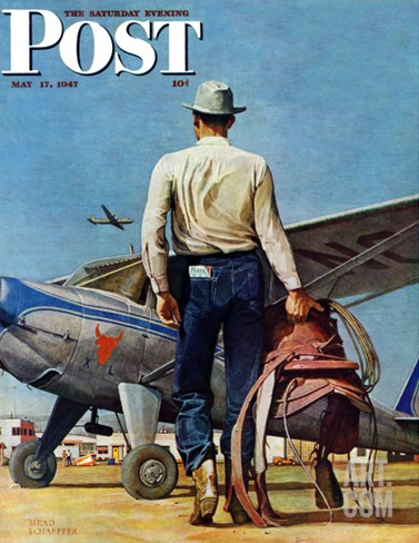 """Flying Cowboy,"" Saturday Evening Post Cover, May 17, 1947 Stretched Canvas Print"