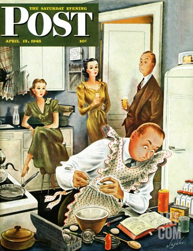 """""""Gourmet Cook?,"""" Saturday Evening Post Cover, April 13, 1946 Stretched Canvas Print"""