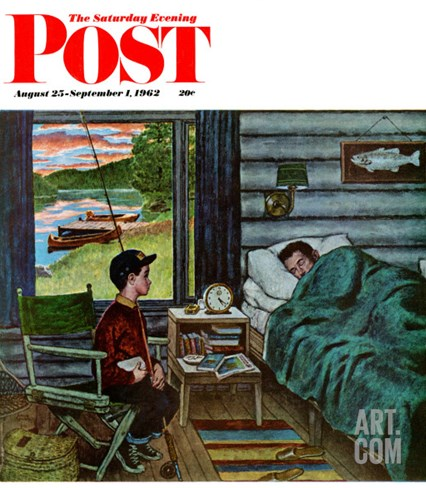 """Dad, the Fish are Biting,"" Saturday Evening Post Cover, August 25, 1962 Stretched Canvas Print"