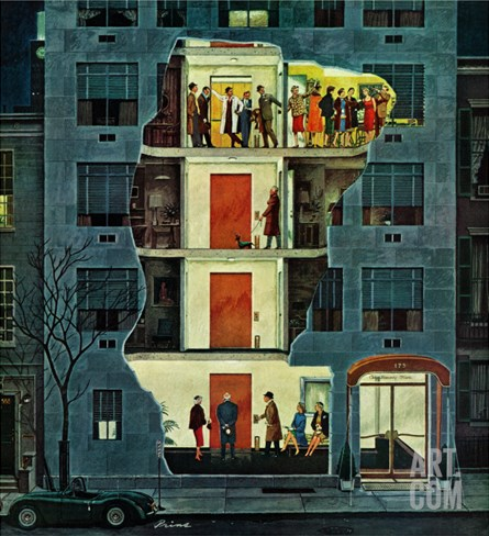 """Party Holding Up the Elevator,"" February 25, 1961 Stretched Canvas Print"