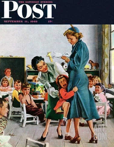 """Separation Anxiety,"" Saturday Evening Post Cover, September 11, 1948 Stretched Canvas Print"