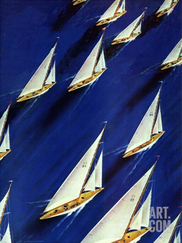 """Sailboat Regatta,"" June 29, 1940 Stretched Canvas Print"