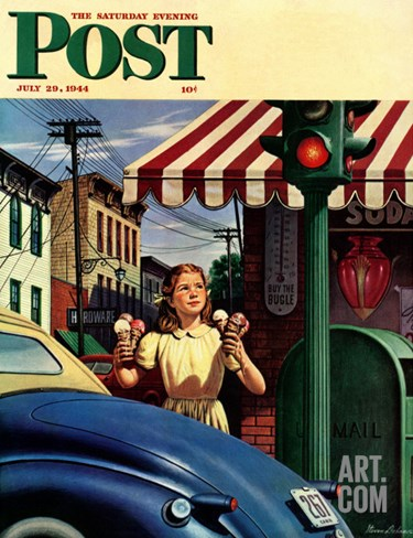 """Dripping Cones,"" Saturday Evening Post Cover, July 29, 1944 Stretched Canvas Print"