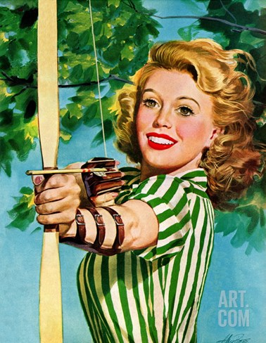 """Woman Archer,"" July 22, 1944 Stretched Canvas Print"