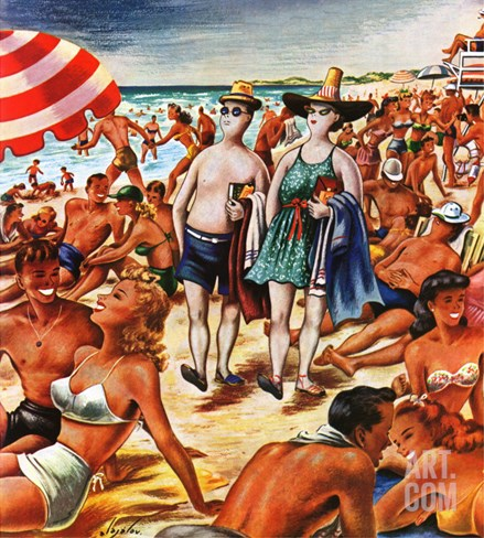 """Palefaces at the Beach,"" July 27, 1946 Stretched Canvas Print"