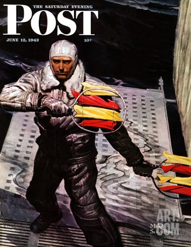 """""""Flight Controller on Aircraft Carrier,"""" Saturday Evening Post Cover, June 12, 1943 Stretched Canvas Print"""