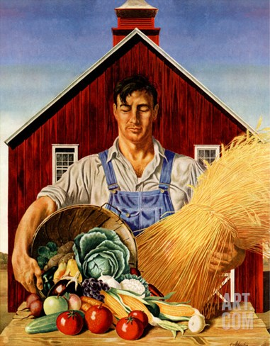 """Fall Bounty,"" September 25, 1943 Stretched Canvas Print"