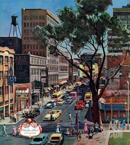 """Peachtree Street,"" June 25, 1960 Stretched Canvas Print"