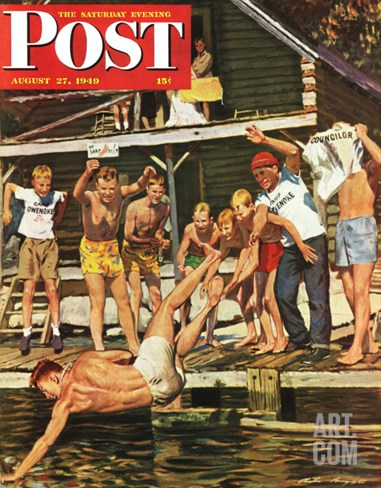 """Wet Camp Counselor,"" Saturday Evening Post Cover, August 27, 1949 Stretched Canvas Print"