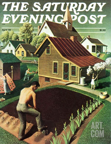 """Re print of ""Spring 1942"","" Saturday Evening Post Cover, April 18, 1942 Stretched Canvas Print"