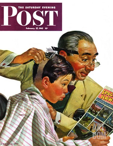 """Comical Haircut,"" Saturday Evening Post Cover, February 27, 1943 Stretched Canvas Print"