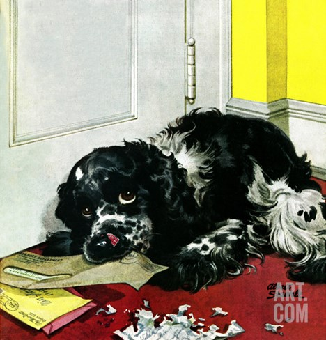 """Butch Chews the Mail,"" March 13, 1948 Stretched Canvas Print"