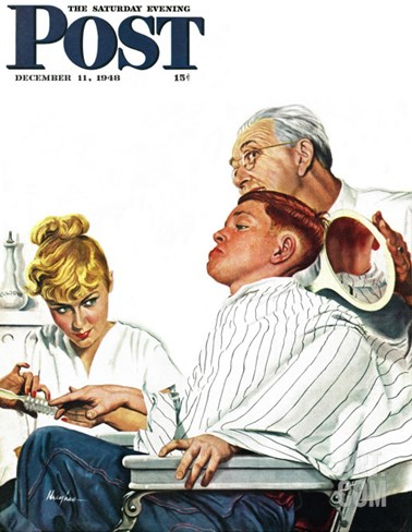 """Haircut and Manicure,"" Saturday Evening Post Cover, December 11, 1948 Stretched Canvas Print"