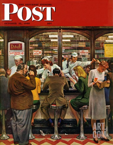 """Lunch Counter,"" Saturday Evening Post Cover, October 12, 1946 Stretched Canvas Print"