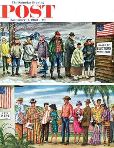 """First Vote in the New States,"" Saturday Evening Post Cover, November 12, 1960 Stretched Canvas Print"